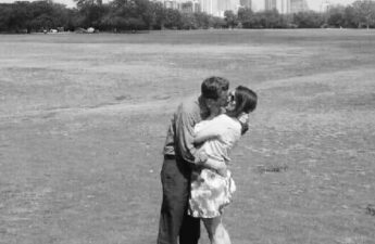 Malia and MJ Black and White Zilker Park Austin Texas Picture Kiss