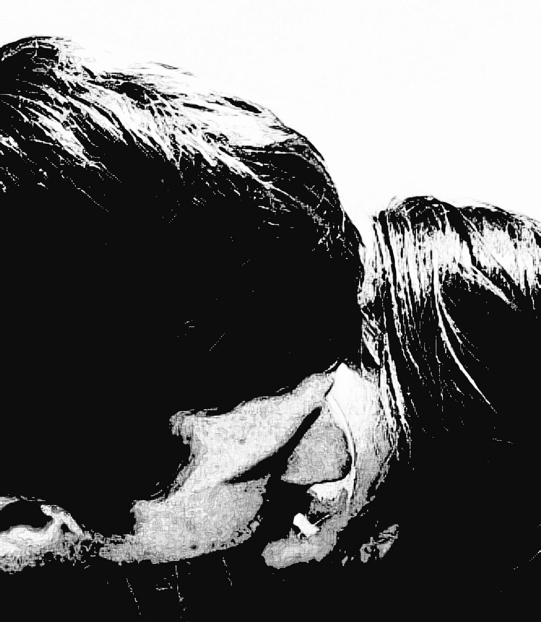 Malia and MJ Close Up Black and White Picture Kiss