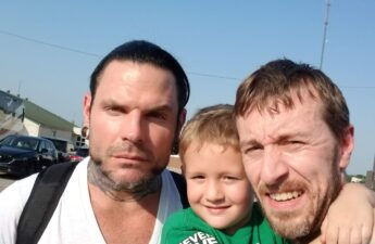 Jeff Hardy CJ (Son) and MJ (Father) Photo Backstage at WWE Event
