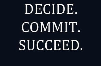 """Michael """"MJ The Terrible"""" Johnson DECIDE. COMMIT. SUCCEED. Logo Branded Success Motivation Picture Quote"""