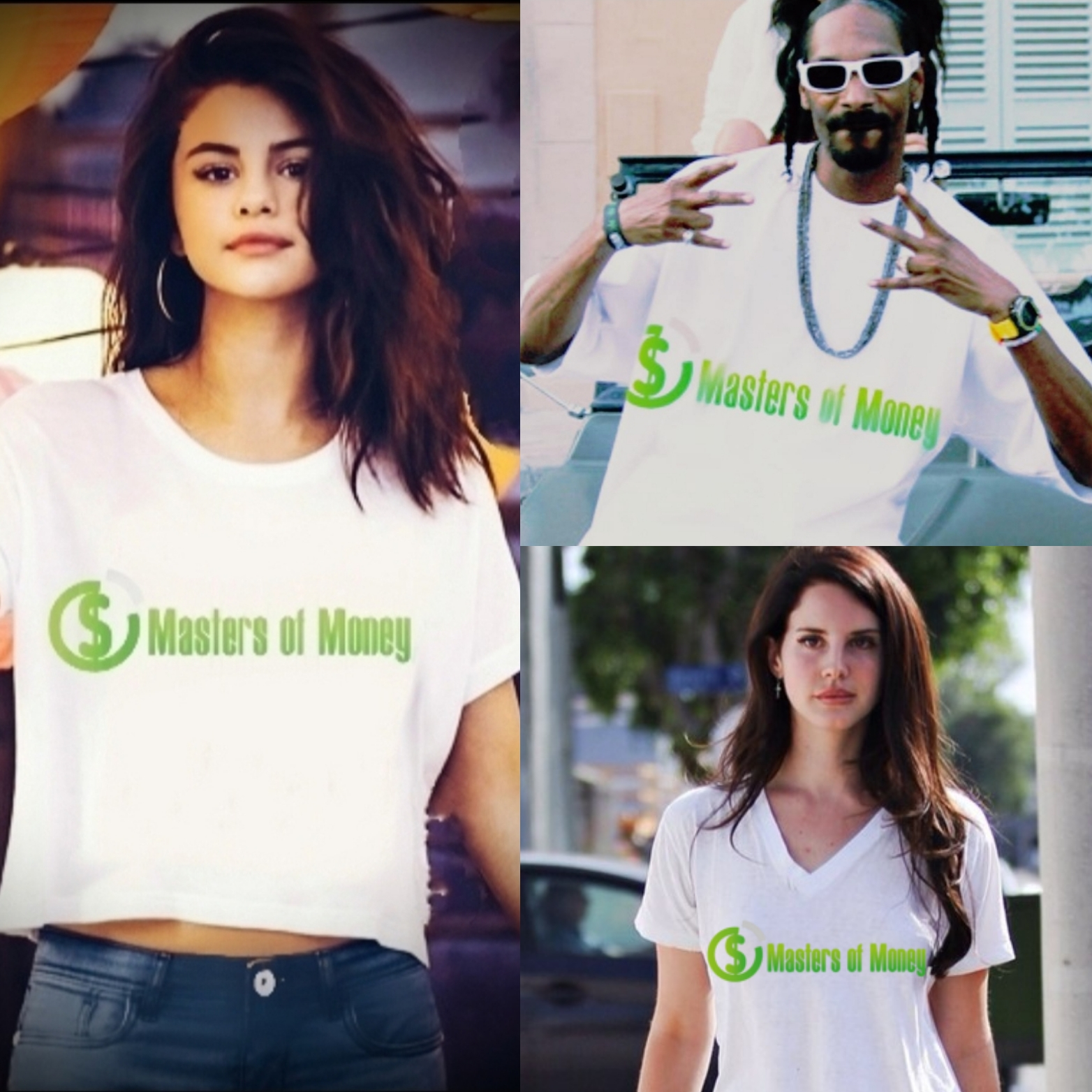 Selena Gomez Snoop Dogg and Lana Del Rey Wearing Masters of Money T-shirts Collage
