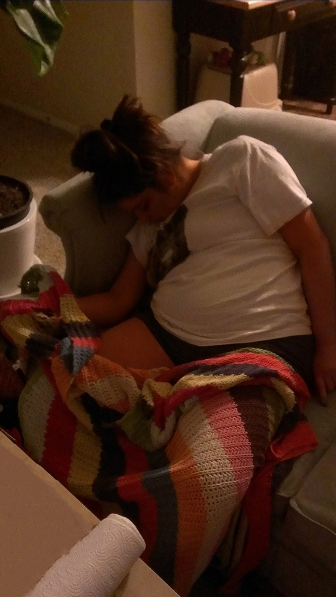 Malia May Johnson asleep on the game room couch picture June 2021