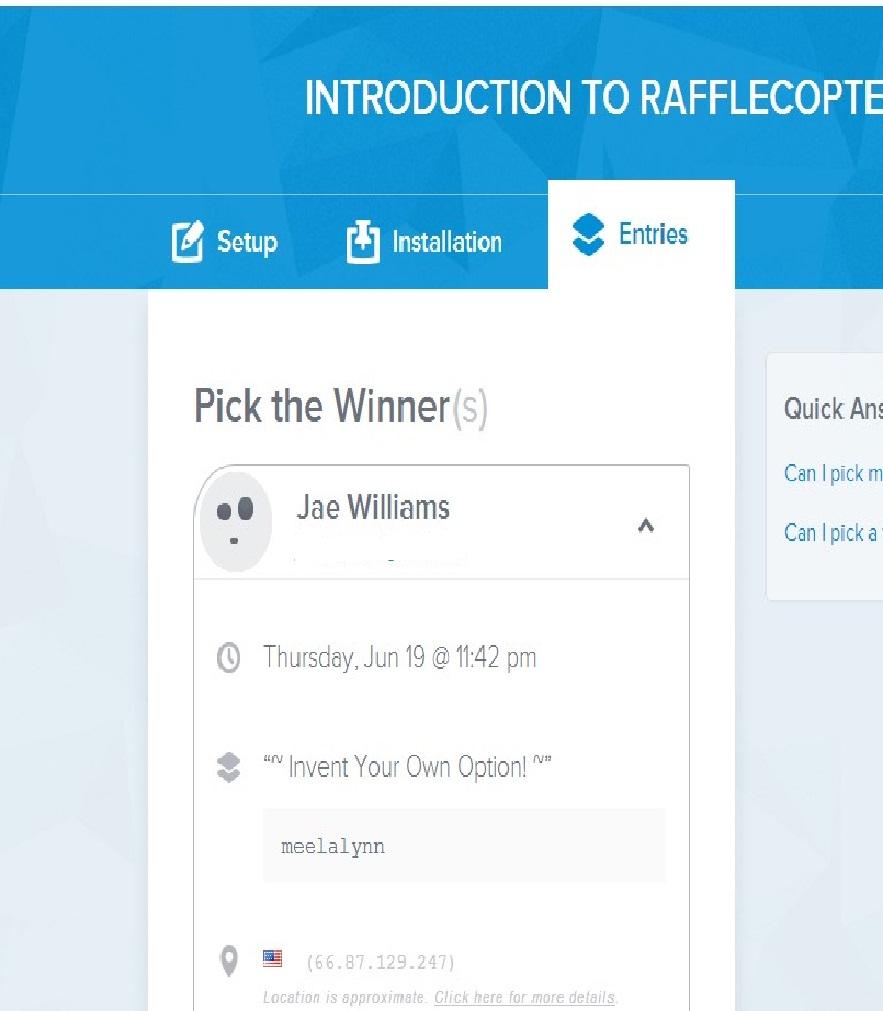 Pool Blue Fabric Giveaway Winner!