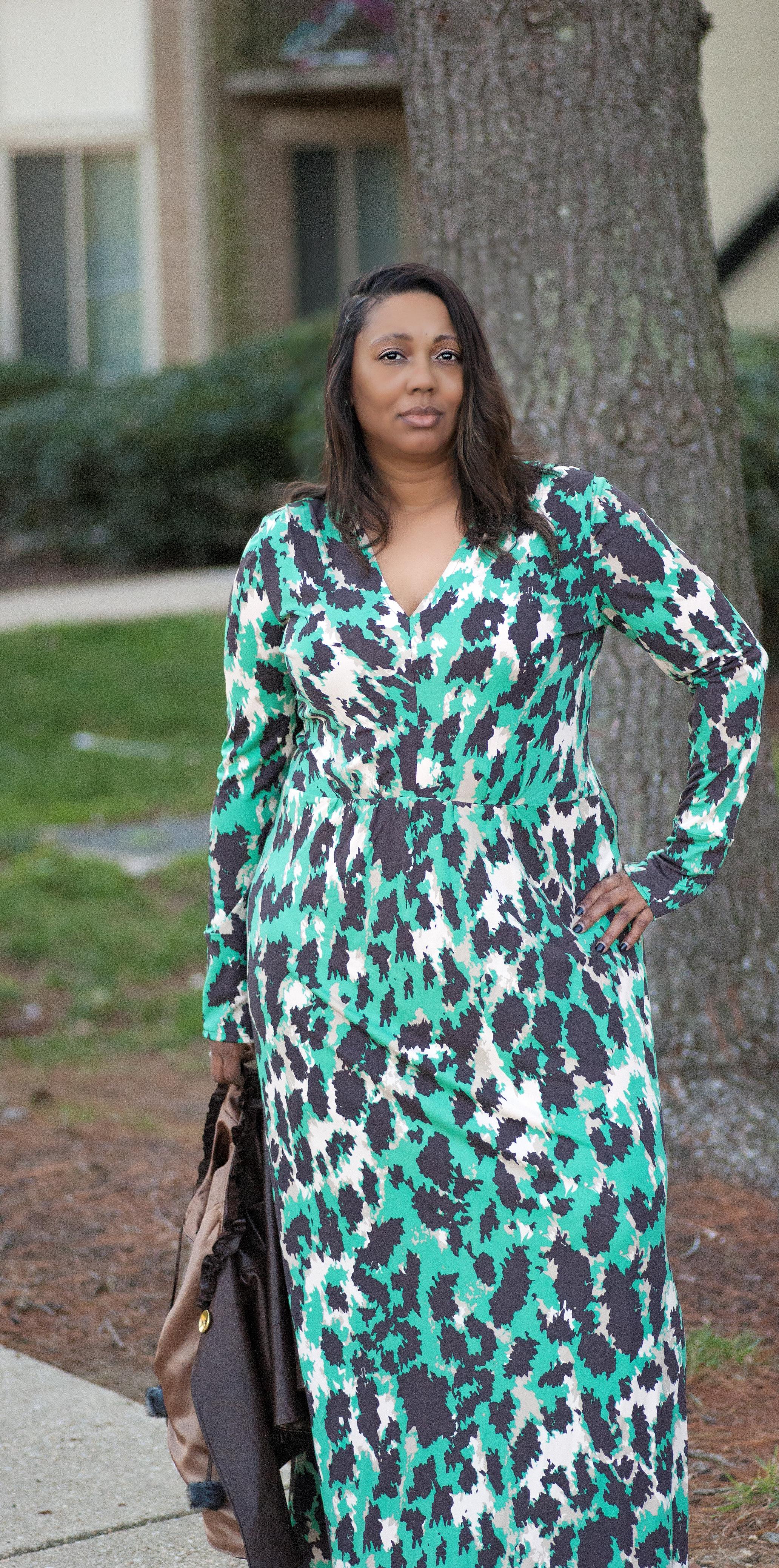 Silk Leopard Maxi Dress made with Vogue 8921