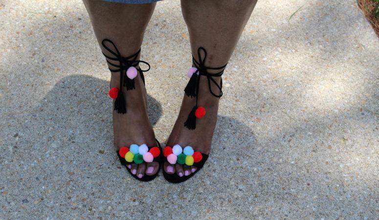 DIY Aquazzura Like Pom Pom Sandals