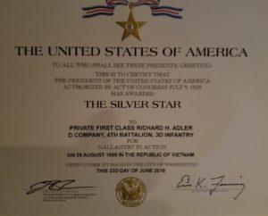 Rick Adler's Silver Star Citation