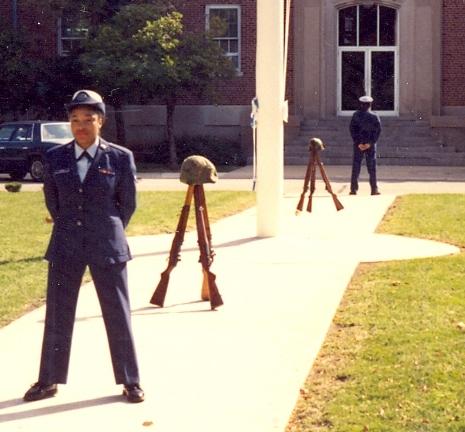 Airman Turner-Winston standing ceremonial guard at Chanute Air Force Base.