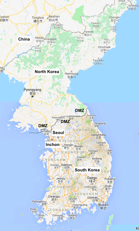 Map of North and South Korea with DMZ at the border