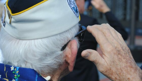 Image of Pearl Harbor Veteran Saluting