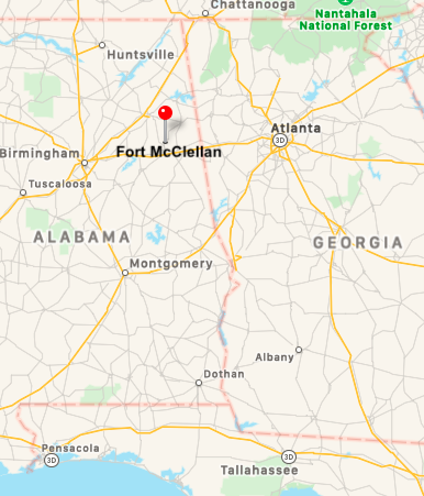 Map showing location of Fort McClellan, Alabama.