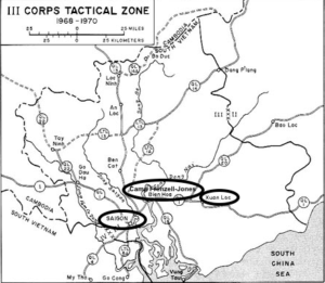 South Vietnam III Corps Area of Responsibility with Jack Murphy's locations circled. Basic map source: U.S. Army