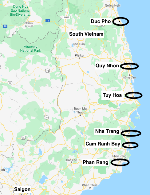 Map showing locations relevant to Billy's tour in Vietnam