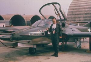 Hank Hoffman celebrating after his last combat mission in an A-37