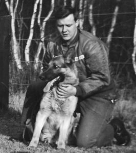 Jim Belshaw with Rinty at RAF Woodbridge