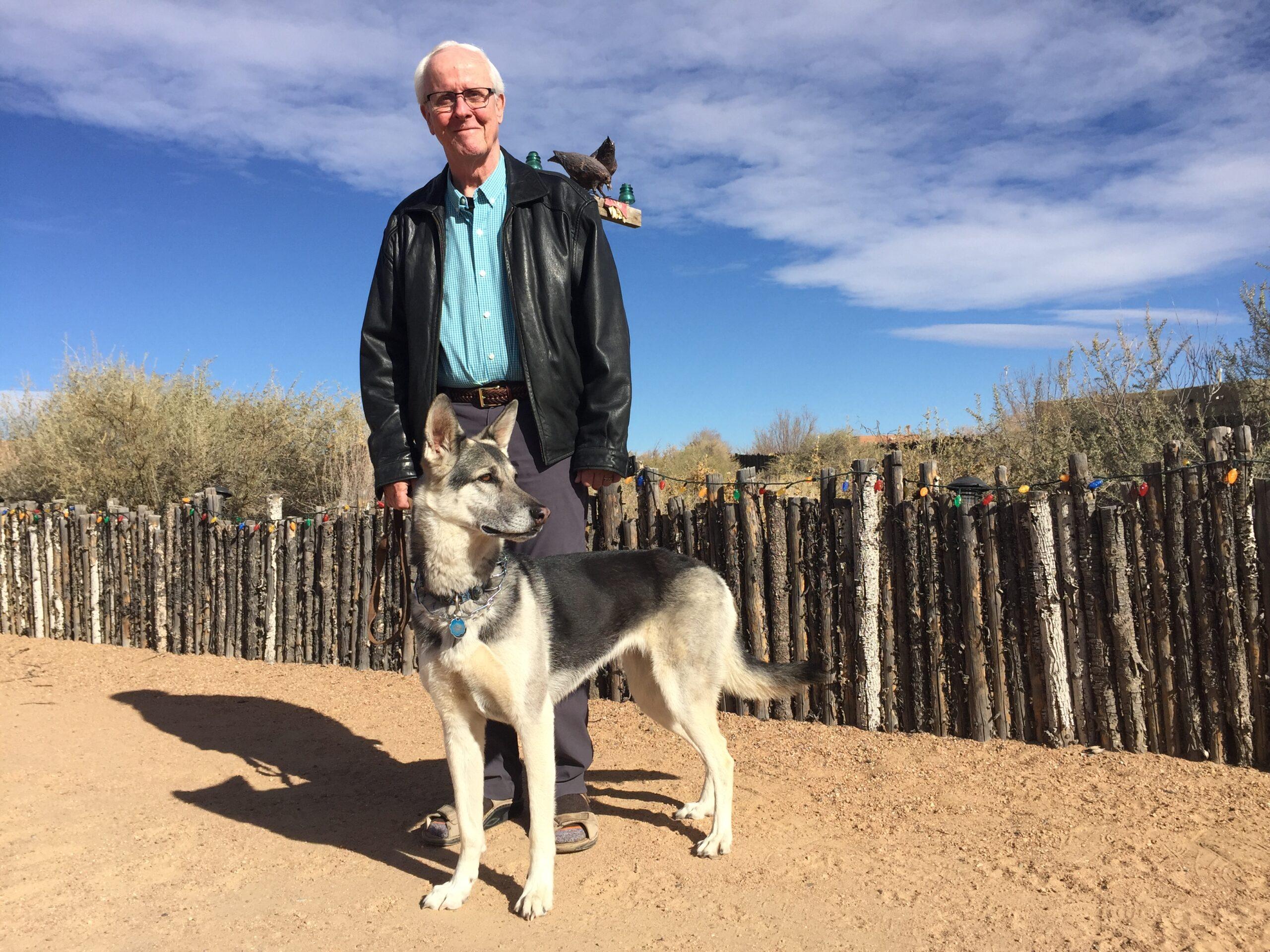 Jim Belshaw with his German Shepherd, Gracie