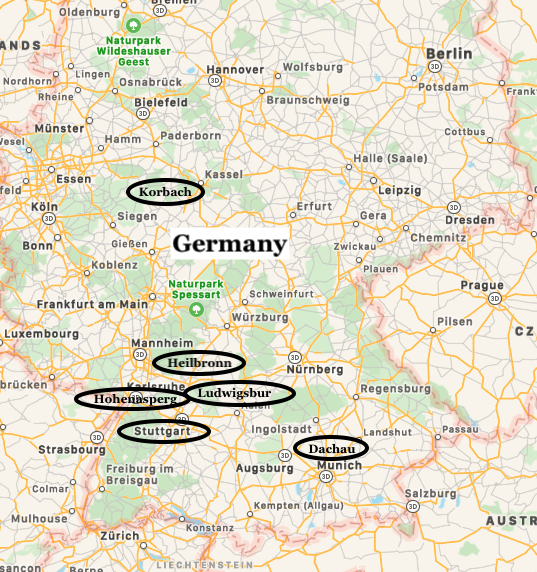 Map of Henry Lowenstern's area of operations in Germany