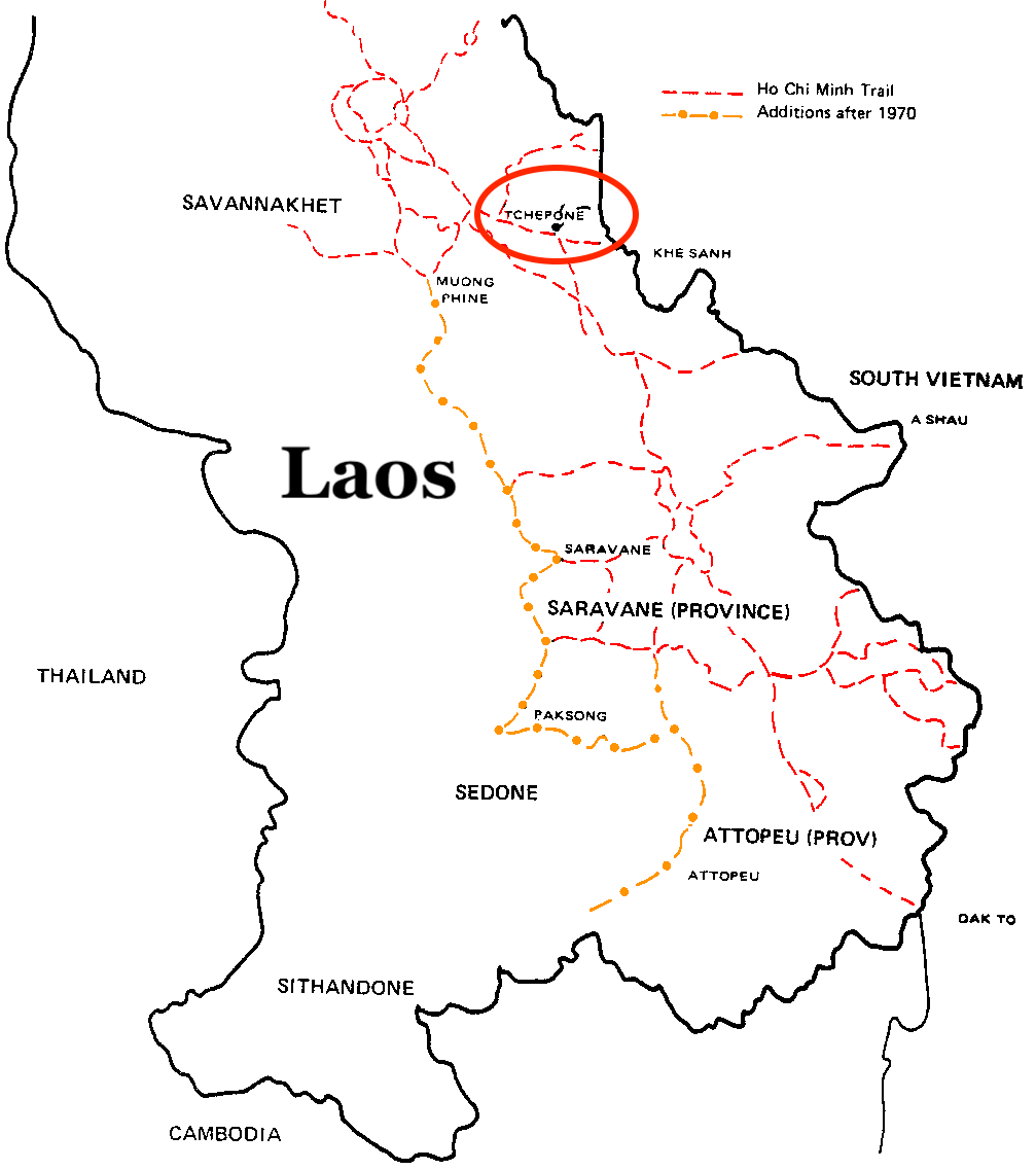 Map of Ho Chi Minh Trail in Laos