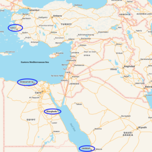 Map of Jay's Port Visits in the Eastern Med and Red Sea