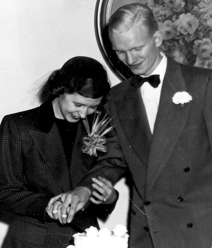 Bob and Mary Miller at their wedding in 1950