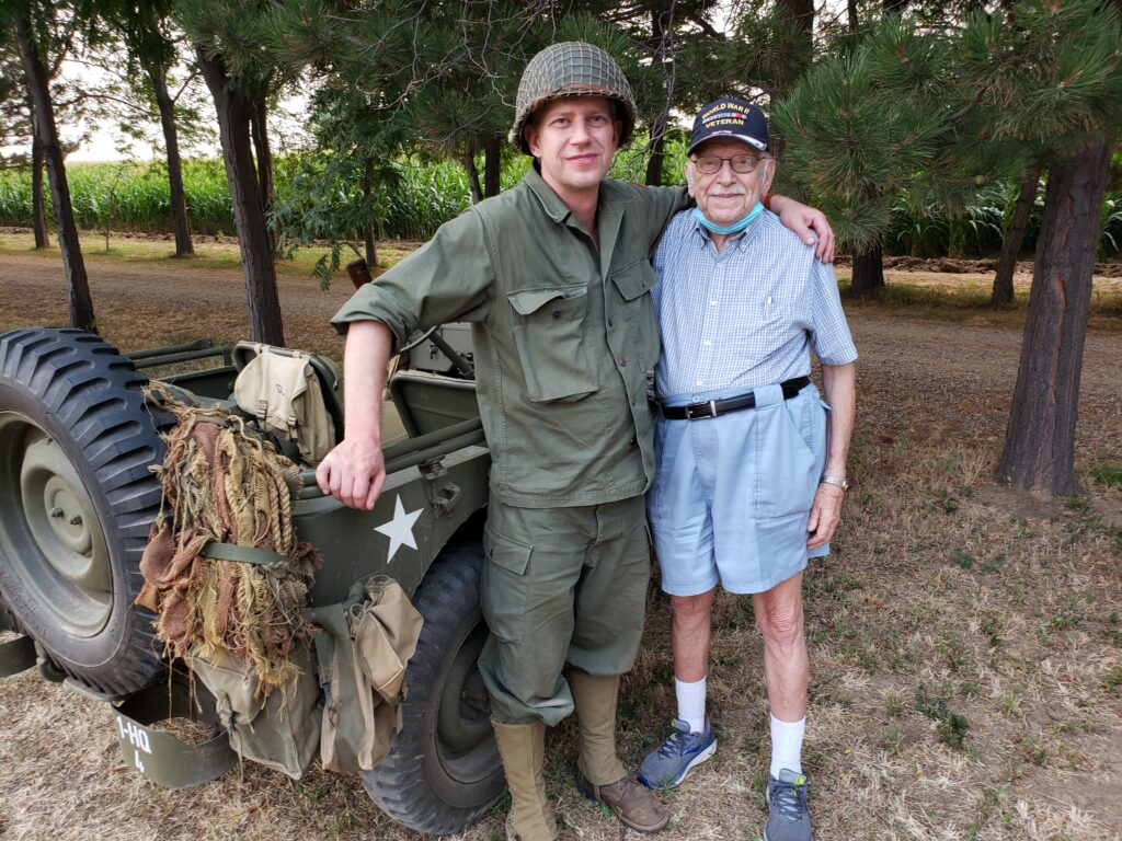 Howard Berger with a WWII reenactor and Jeep