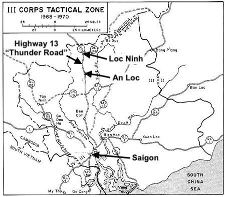 III Corps Tactical Area Map Highlighting Saigon, An Loc, Loc Ninh, and Thunder Road