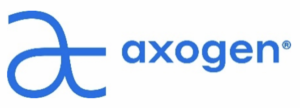 """Axogen's sans-serif logo, a bright blue with a large but lowercase """"a' at the beginning."""