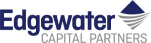 A logo for Edgewater Capital Partners, blue and grey with a triangle vector.