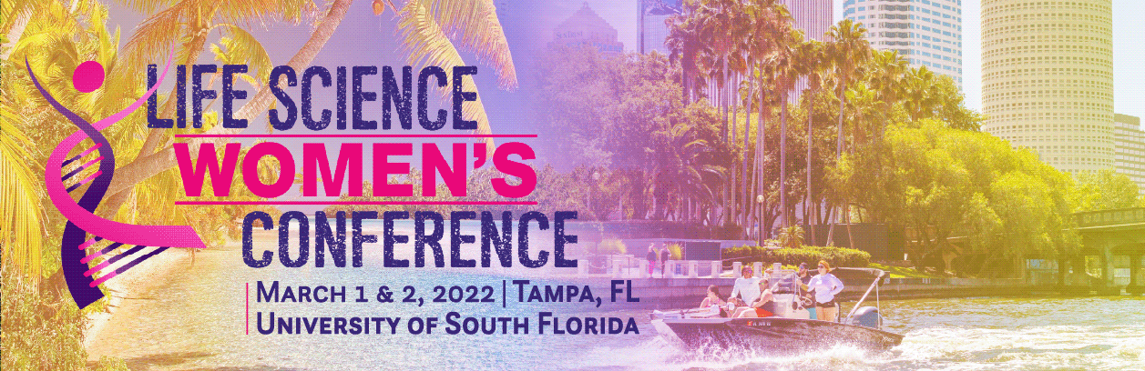 A vibrant pink and yellow tinted banner with images of Florida superimposed and blended underneath a gradient. It has the conference logo and details on the left.