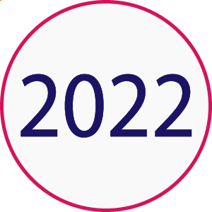 """A white circle with a pink rim that has """"2022"""" in the center."""