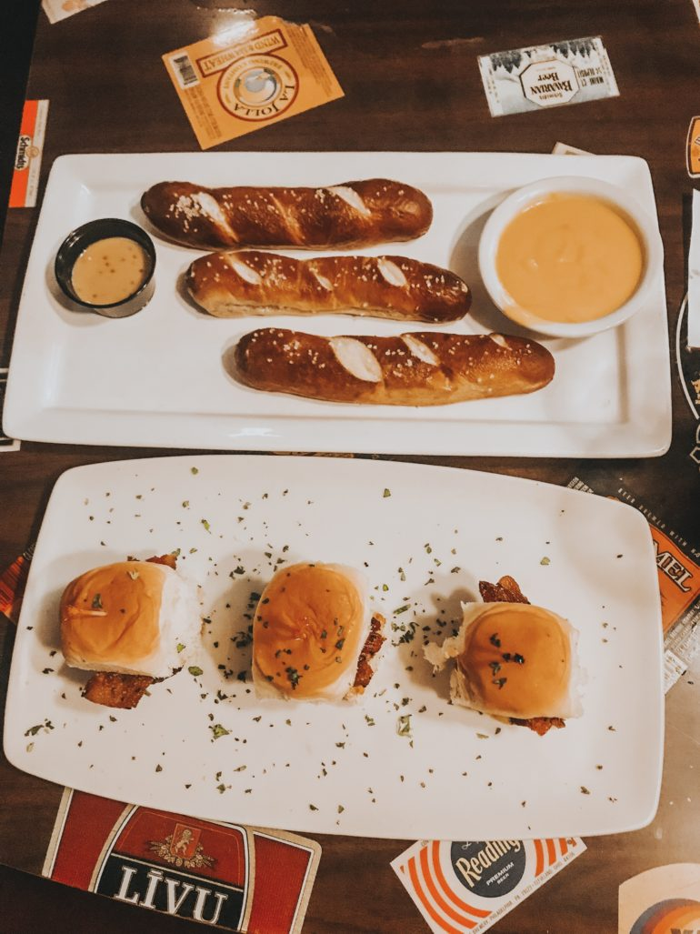 Mini cheeseburgers and pretzels from Solvang Brewing company