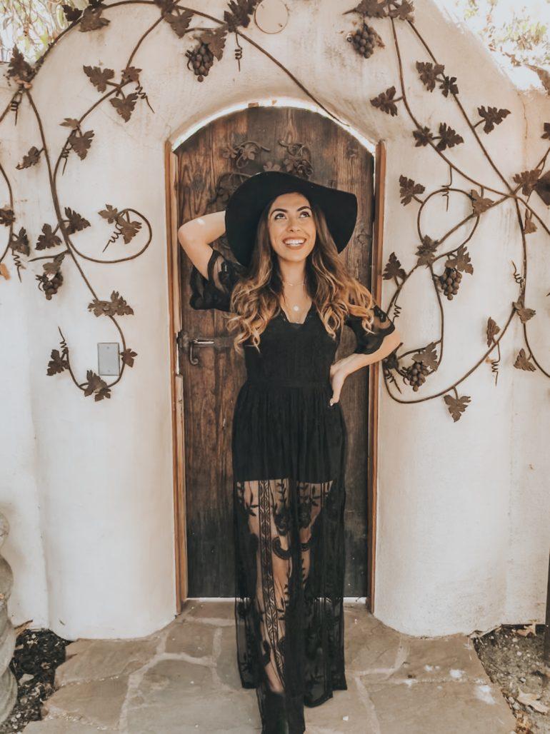 Alexis Alcala in a lace black dress in Los Alamos California
