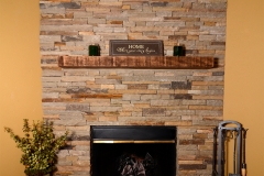Hand-crafted veneer indoor fireplace