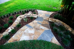 Flagstone Path with Dry-Stack Retaining Wall (Alternate View)