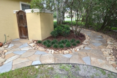 Dry-laid stone path and border
