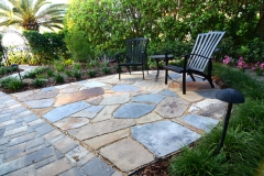 Dry-laid flagstone patio in garden