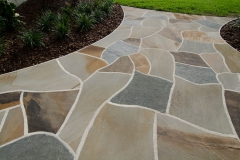 Dry-laid flagstone patio with mortared joints