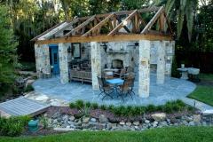 Mortared blue stone patio area