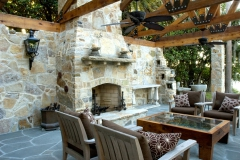 Quartzite stone fireplace and walls