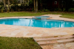 Flagstone pool deck and steps