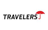 Logo for Travelers Insurance.