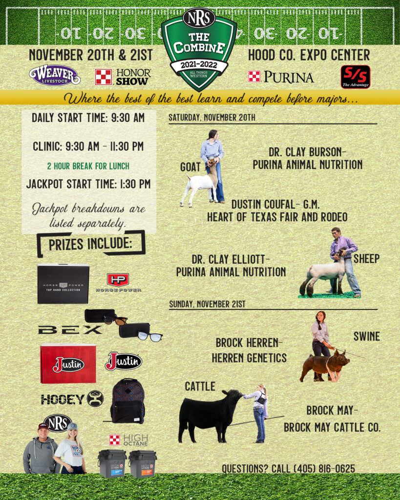"""NRS """"The CombinE,"""" Livestock Show Clinic and Jackpot Show detailed flyer."""