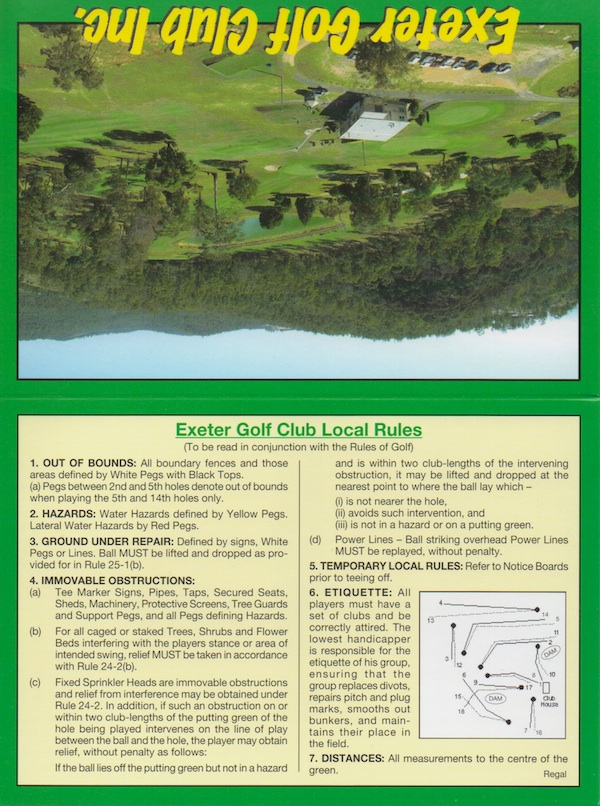 Exeter Golf Club Score Card 2013