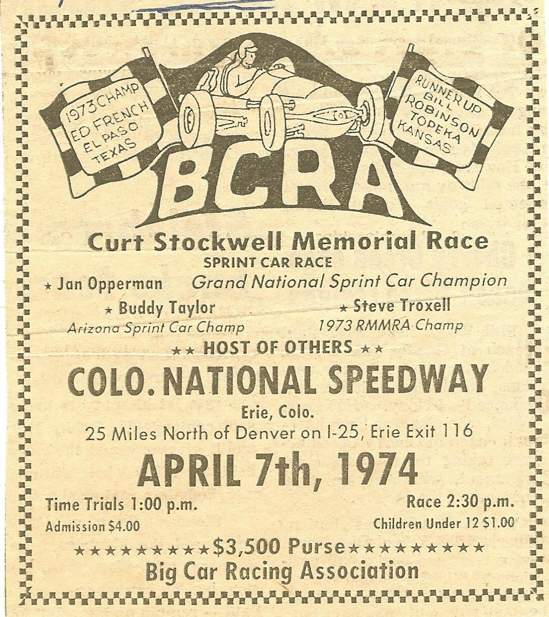 Poster - Stockwell Memorial Race