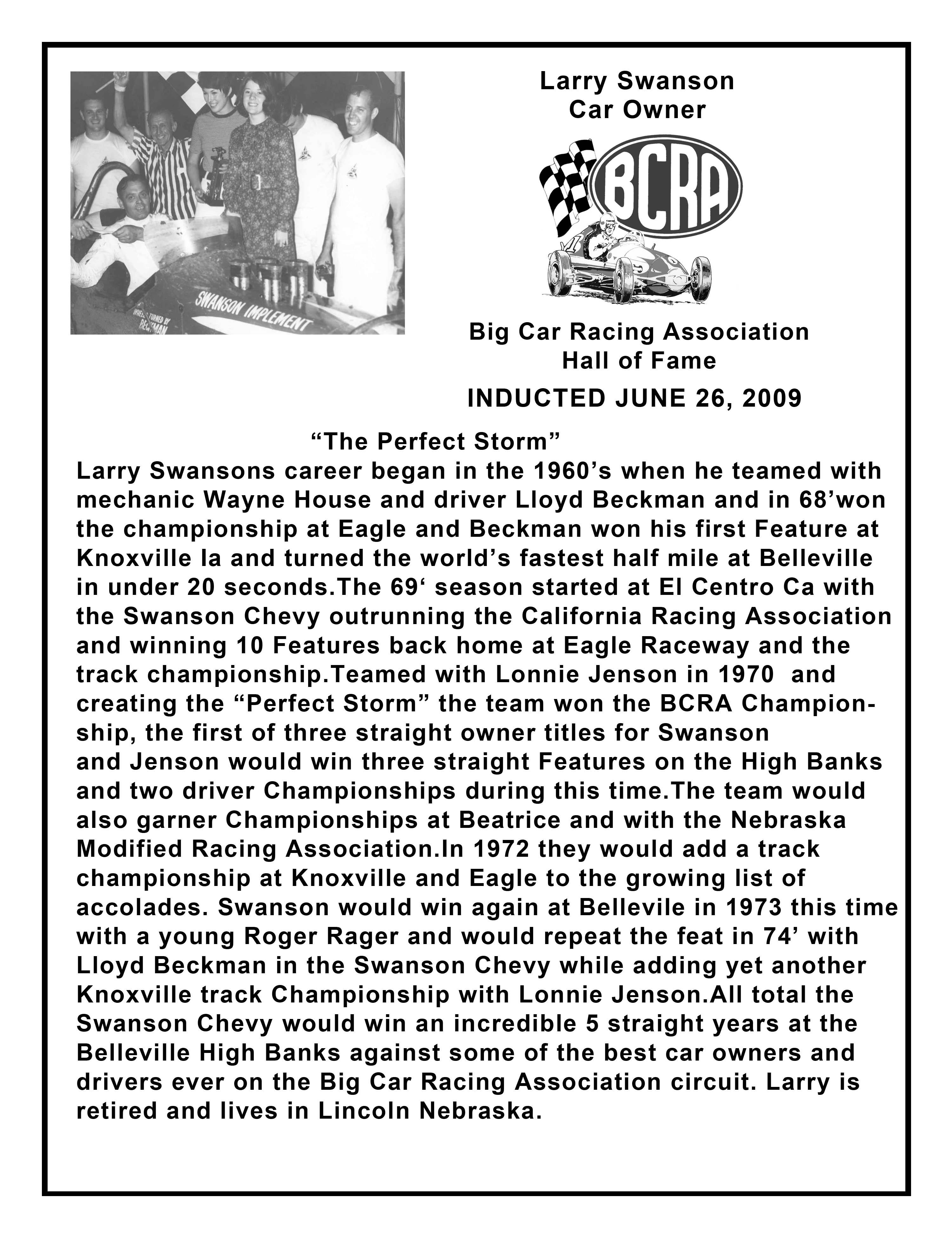 Larry Swanson plaque copy