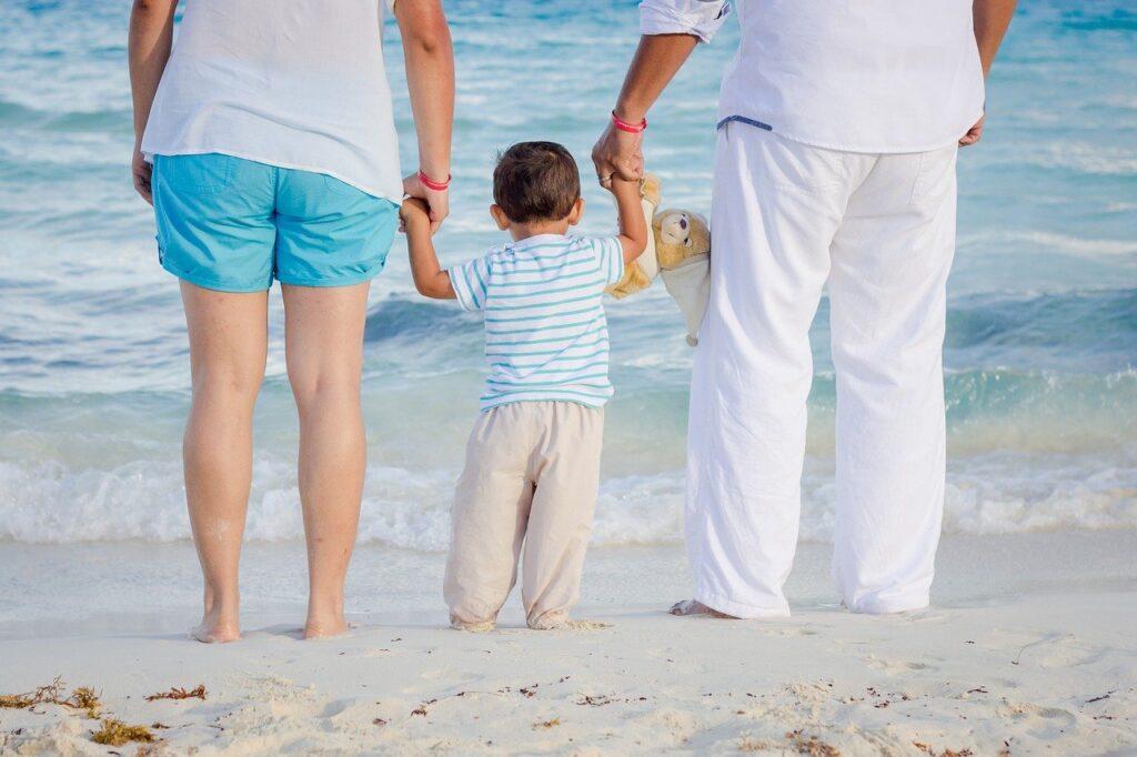 family, beach, child