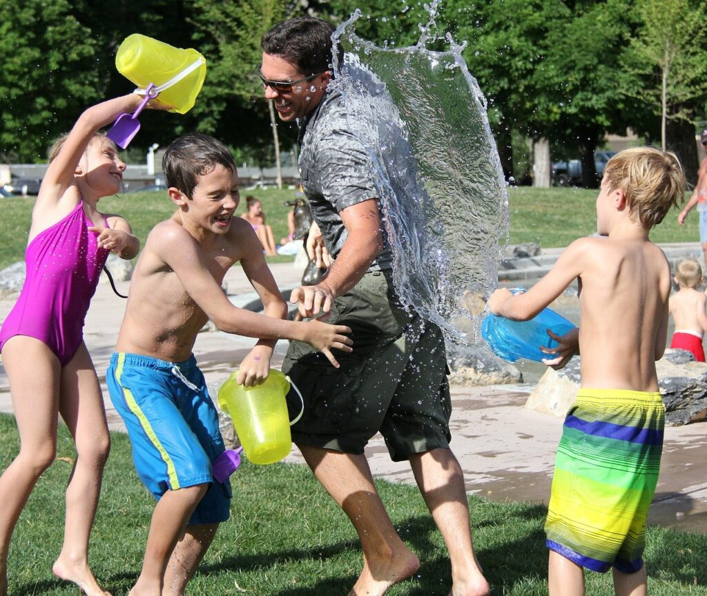 water fight, children, water