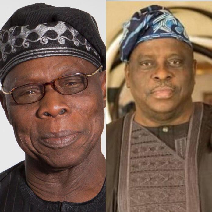 A collage of Former President Obasanjo and Late Senator Buruji Kashamu