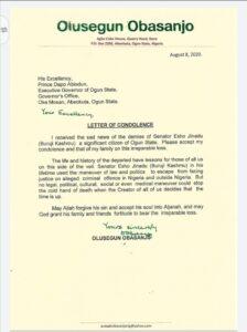 Former President Obasanjo's Condolence Letter on Late Buruji Kashamu