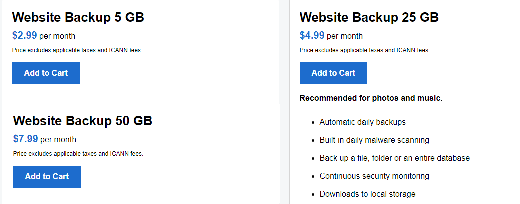Buy Website Backup Storage