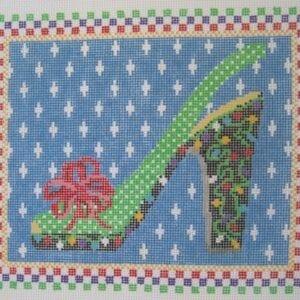 merry & bright needlepoint shoe canvas